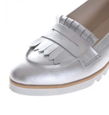 loafers argintii dama piele naturala