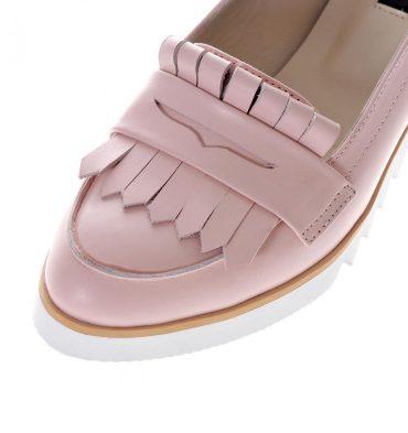 Loafers dama roz pal piele naturala