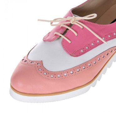 pantofi oxford piele roz