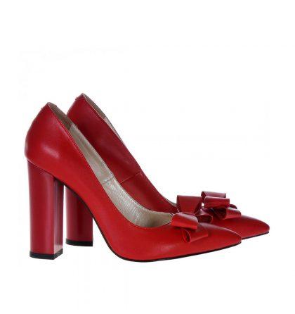 pantofi rosii piele toc gros