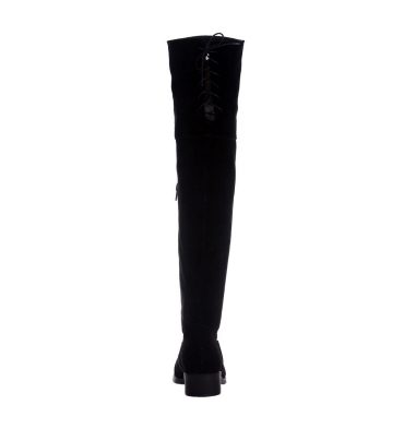 Cizme negre peste genunchi piele intoarsa