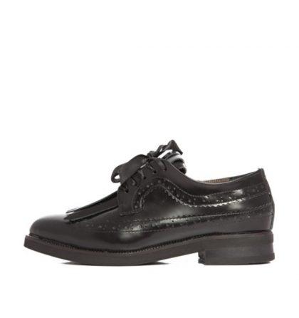 Pantofi dama oxford negri piele naturala
