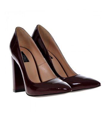 Pantofi grena piele toc gros