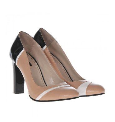 Pantofi office piele crem negru alb