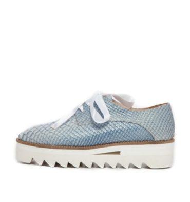 Pantofi oxford piele albastra imprimeu sarpe
