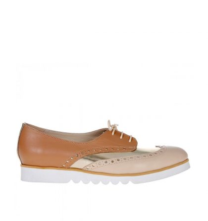 Pantofi oxford piele cappuccino auriu nude