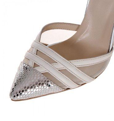 Pantofi piele argintiu croco