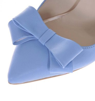 Pantofi piele bleu serenity toc gros