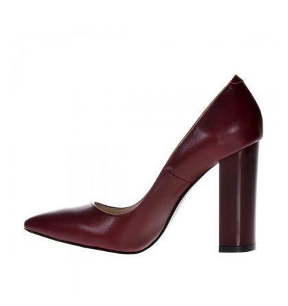 Pantofi piele grena marsala toc gros