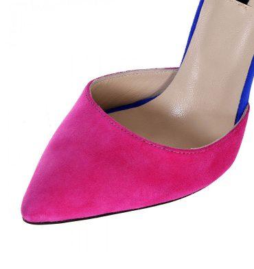 Pantofi piele intoarsa fucsia albastru