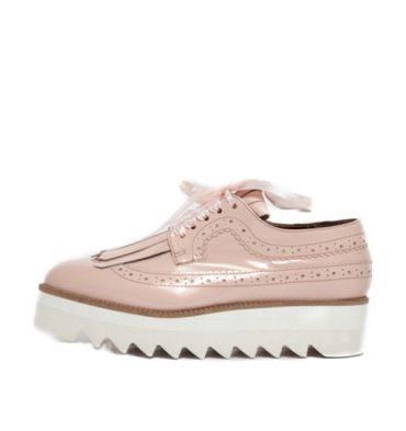 Pantofi roz oxford piele naturala franjuri