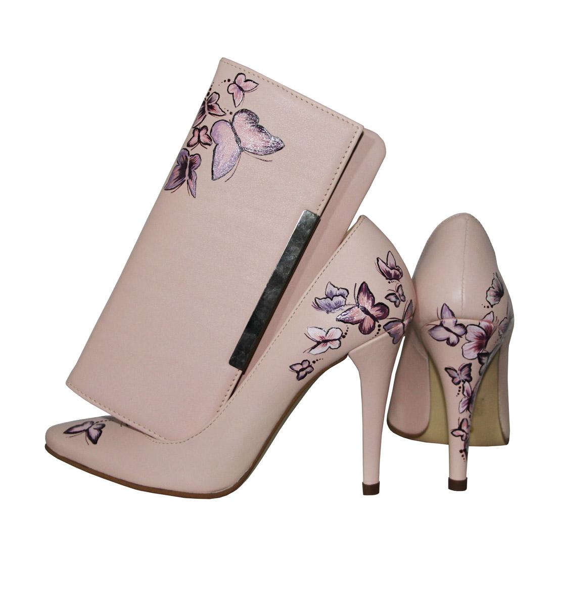 Pantofi Roz Pal Model Fluturasi