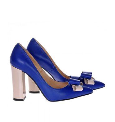 Pantofi stiletto albastru electric piele