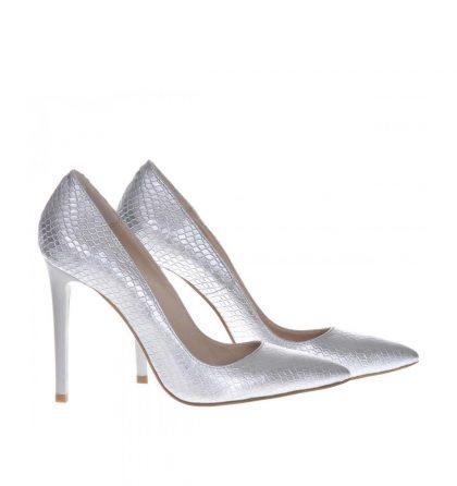 Pantofi stiletto argintii imprimeu sarpe