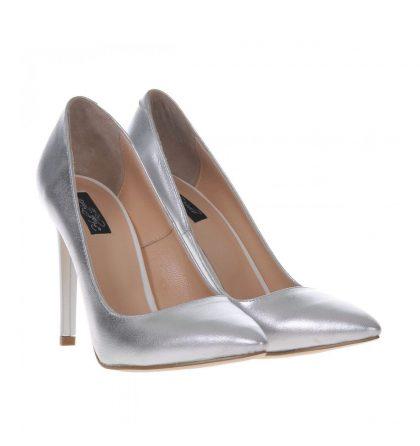Pantofi stiletto argintii piele