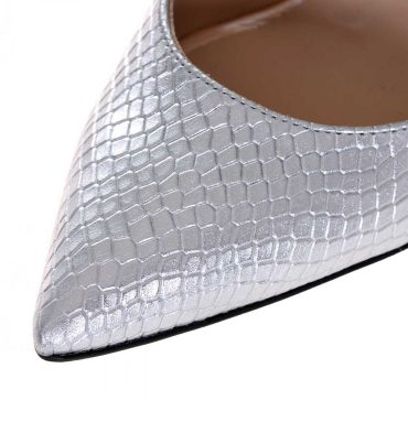 Pantofi stiletto argintii piele imprimeu sarpe