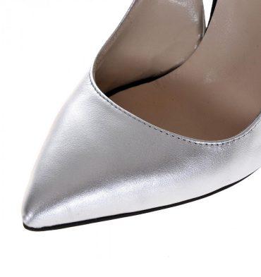 Pantofi stiletto argintii piele naturala