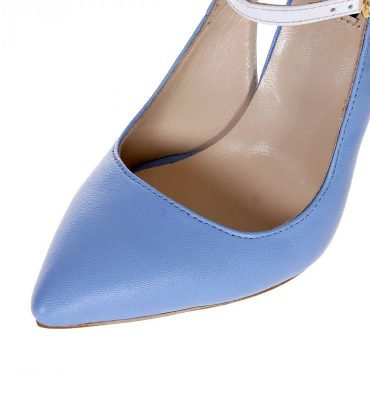 Pantofi stiletto bleu serenity piele