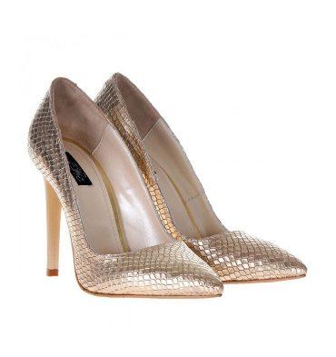 Pantofi stiletto imprimeu sarpe auriu