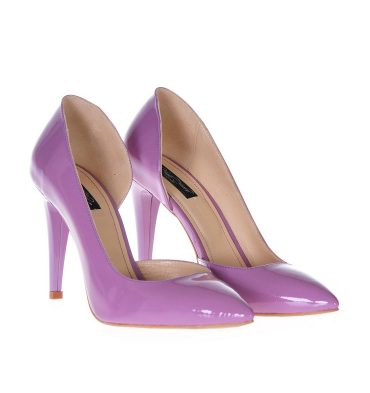 Pantofi stiletto lila decupati