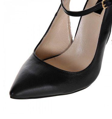 Pantofi stiletto negri aplicatii aurii