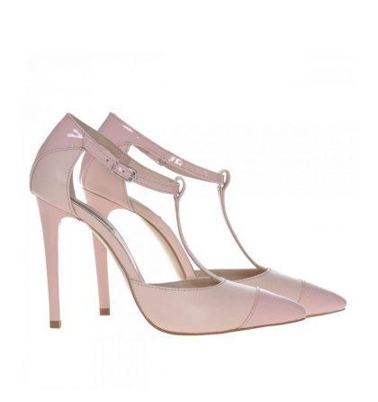 Pantofi stiletto nude piele lacuita piele box