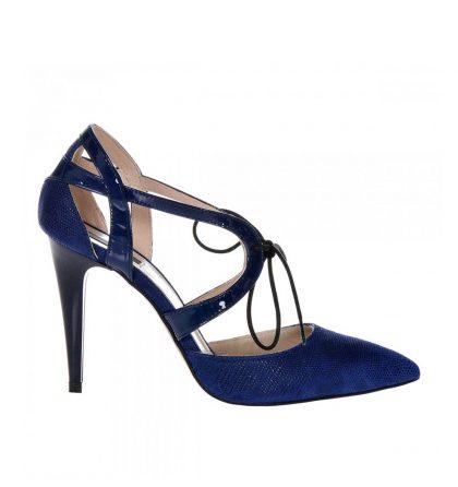 Pantofi stiletto piele albastru bleumarin