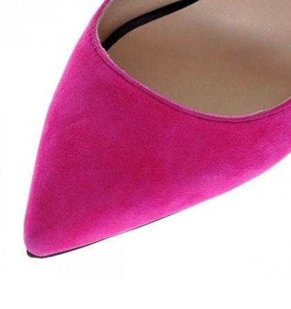 Pantofi stiletto piele intoarsa fucsia negru
