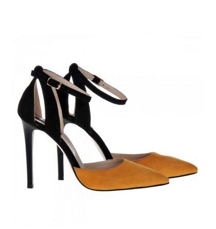 Pantofi stiletto piele intoarsa negru mango