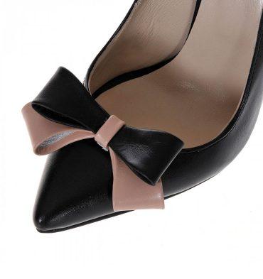Pantofi stiletto piele negru crem