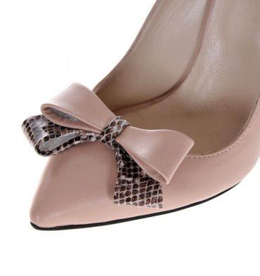 Pantofi stiletto piele nude bej imprimeu sarpe