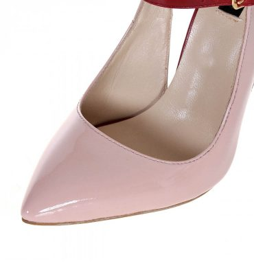 Pantofi stiletto piele nude rose rosu