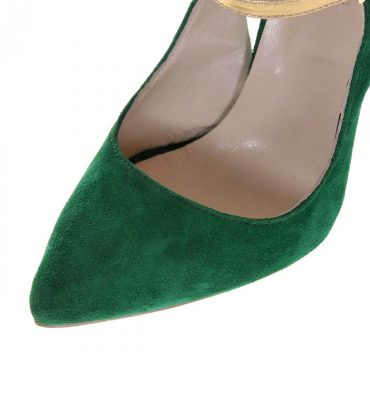 Pantofi stiletto verzi piele intoarsa auriu