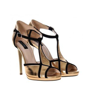 Sandale aurii piele insertii negre