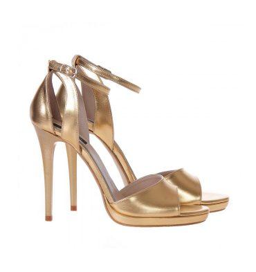 Sandale aurii piele toc inalt platforma