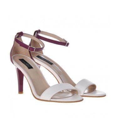 Sandale comode piele alb mov