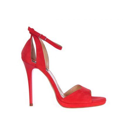Sandale corai piele intoarsa