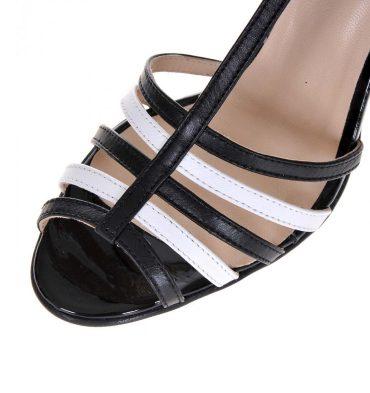 Sandale dama piele alb negru
