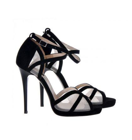 Sandale negre piele intoarsa plasa