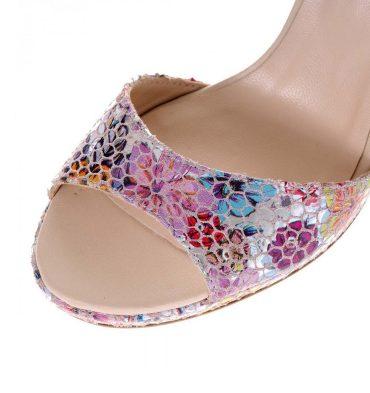 Sandale nude piele imprimeu floral