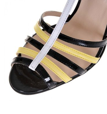 Sandale piele negru galben alb