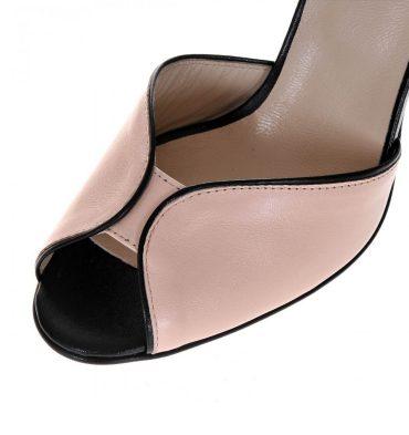 Sandale piele nude roze toc inalt