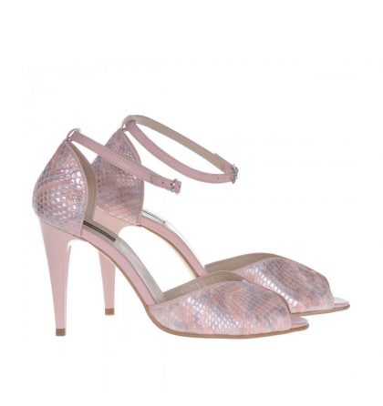 Sandale piele roz pal imprimeu sarpe