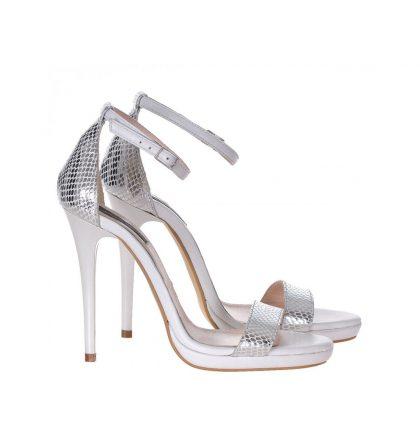 Sandale piele sarpe argintiu