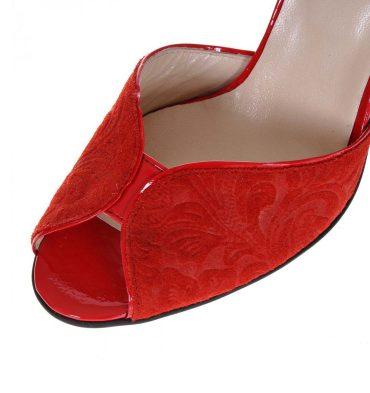 Sandale rosii piele imprimeu floral