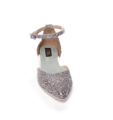 Balerini piele glitter argintii