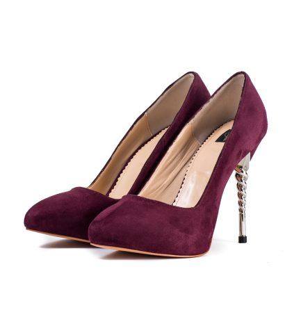 Pantofi bordo marsala piele intoarsa