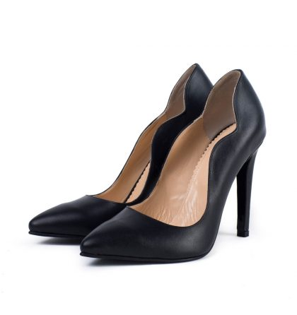 Pantofi negri piele naturala toc inalt