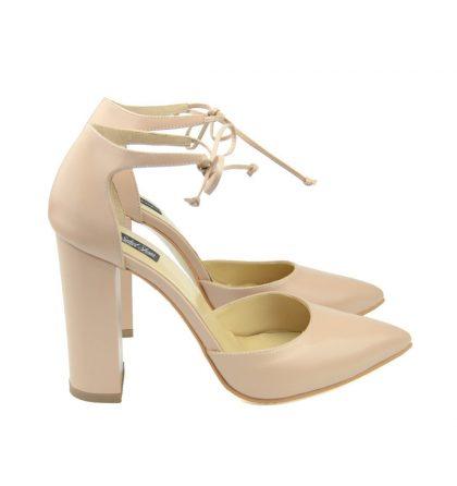 Pantofi nude piele naturala toc gros