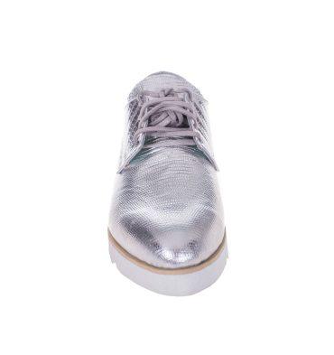Pantofi oxford argintii piele imprimeu sarpe